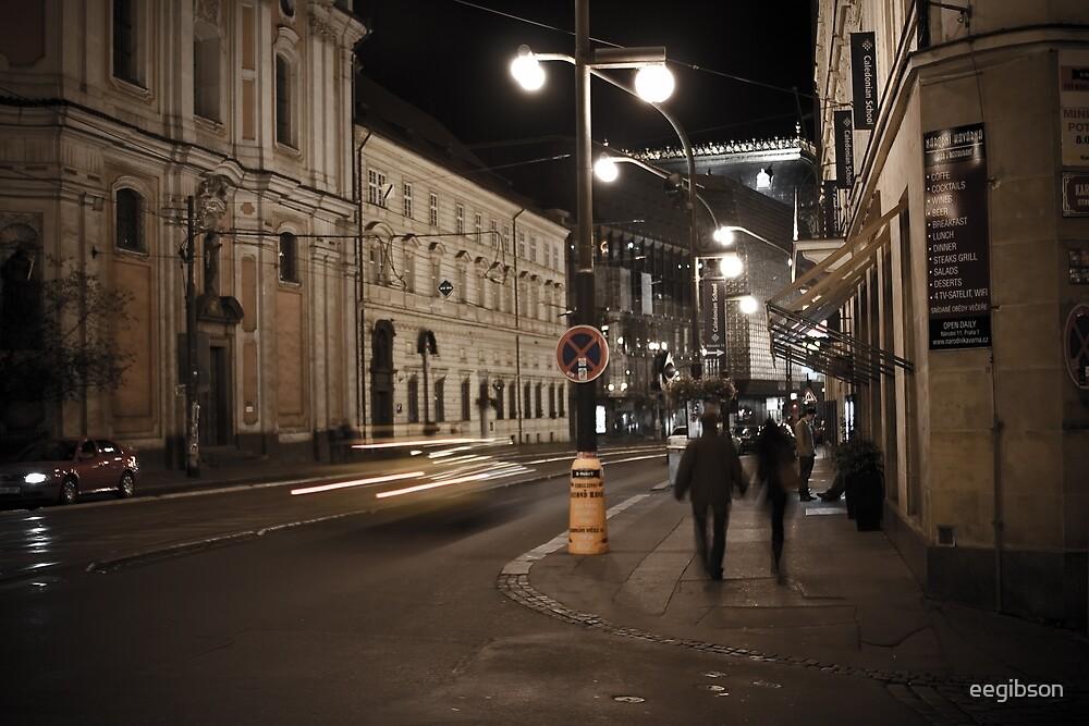 Prague Street at Night by eegibson