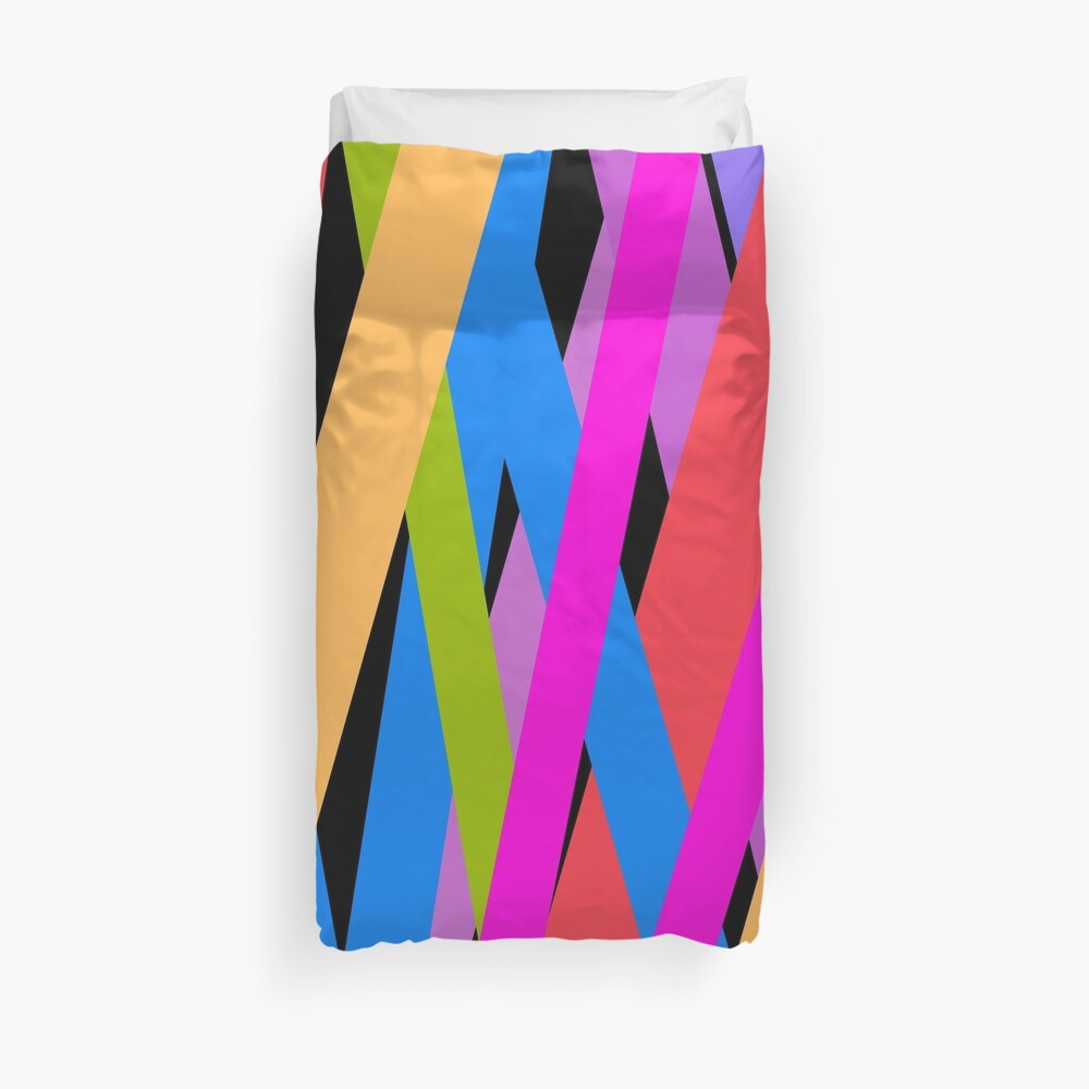 Ultra Bright Multi Coloured Stripes by Art and Patterns1 Duvet Cover