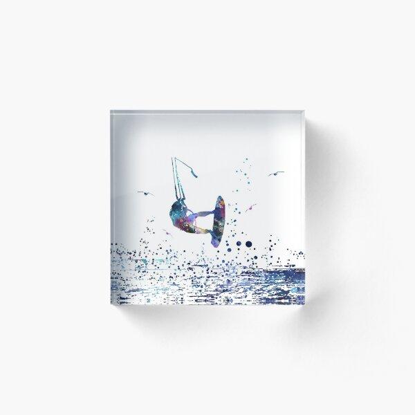 Kitesurfing, watercolor kiteboarding Acrylic Block