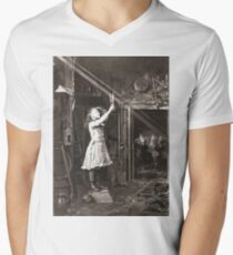 Striking Historical Photo That Bring the Past to Life #HistoricalPhoto #Historical #Photo #vintage #clothing, #people, #adult, #group, #child, #vertical, #brown, #photography, #clothing, #women, #men Men's V-Neck T-Shirt