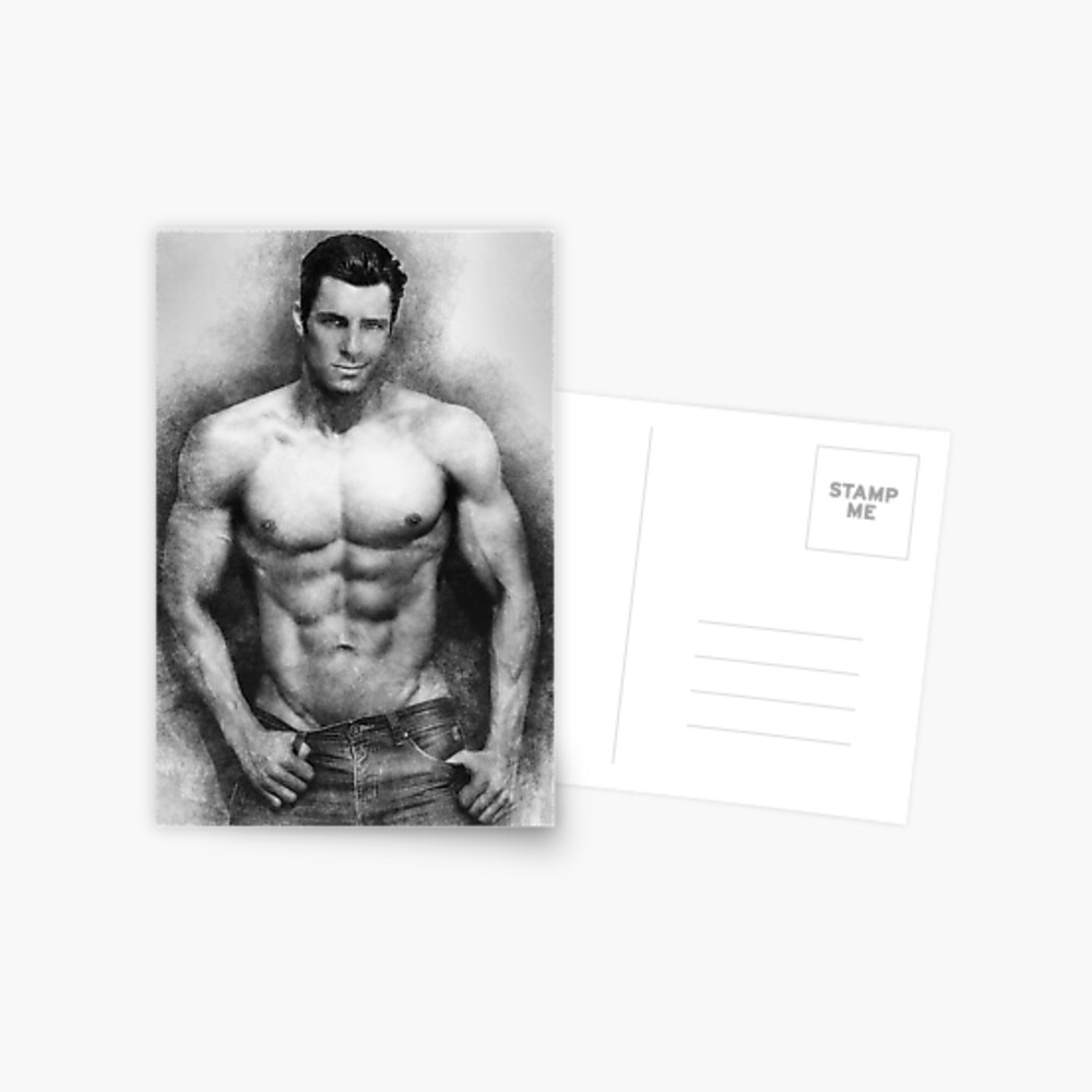 Fitness model Chris sketch Postcard