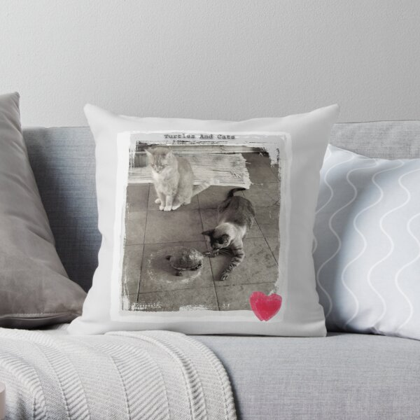 Turtles And Cats In Retro Style Throw Pillow