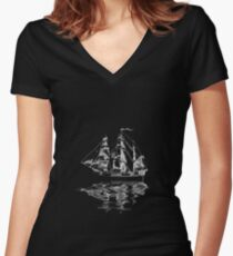 Sailing Upon Grim Waters | Ghost Ship Women's Fitted V-Neck T-Shirt