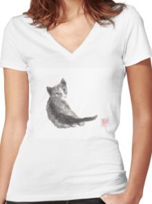 Innocent wonder sumi-e painting Women's Fitted V-Neck T-Shirt