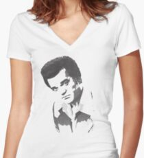 Conway Twitty Halftone Women's Fitted V-Neck T-Shirt