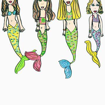 Tane's Drawing of My Girls as Mermaids von micklyn