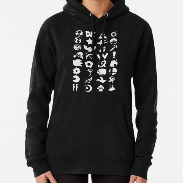 Super Smash Bros. Ultimate Series Logos | White Icons Pullover Hoodie