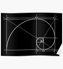 Golden Ratio, Fibonacci Spiral, Drawing Poster