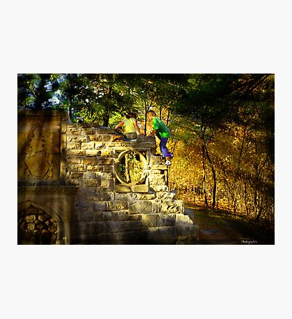 Kids Playing on the monuments of MacKenzie-King Estate Photographic Print