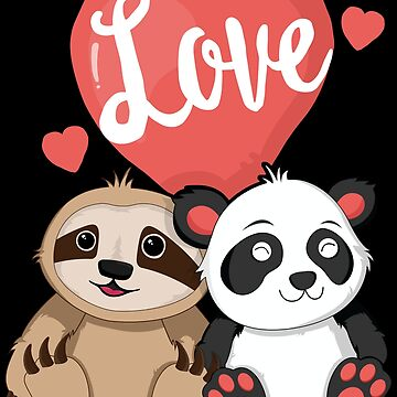 Sloth Panda Valentines Day T-Shirt for Kids Women Couple by 14thFloor