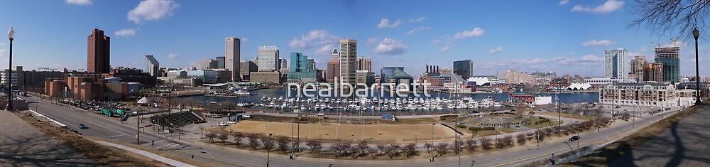 Baltimore skyline and inner harbor by nealbarnett