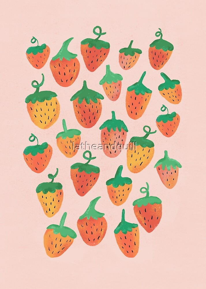 Painted Strawberries by latheandquill