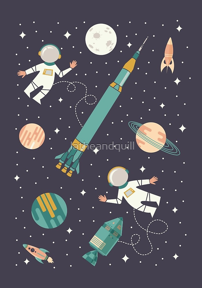 Lunar Landing - Coral + Teal by latheandquill