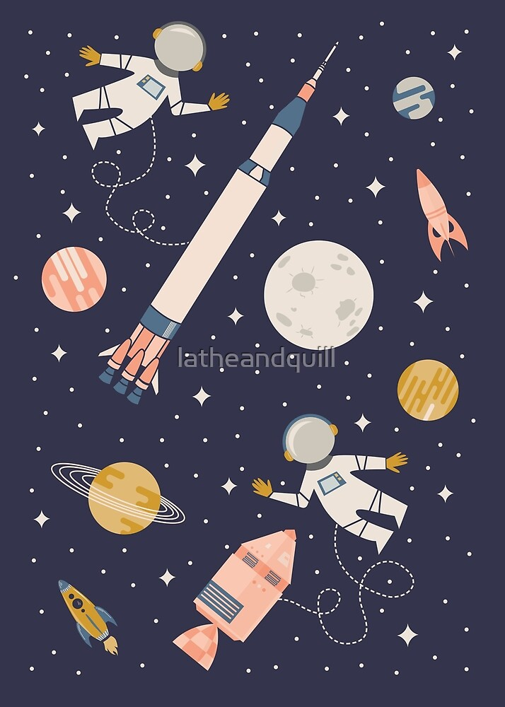 Lunar Landing - Coral + Gold by latheandquill