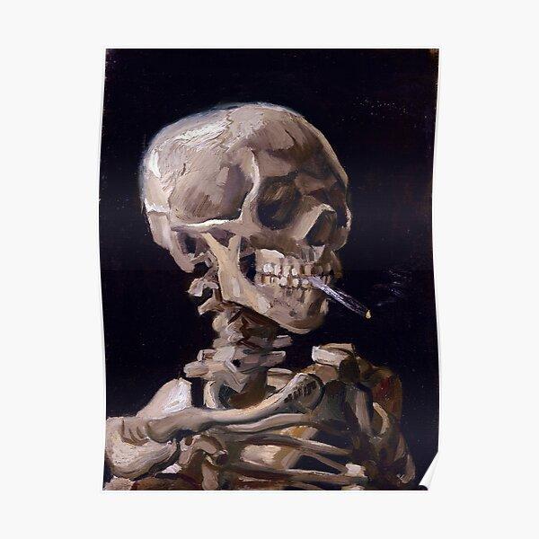 Vincent Van Gogh - Skull with Burning Cigarette (new color edit) Poster