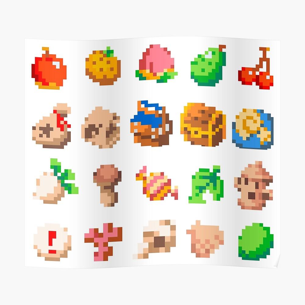 Animal Island Item Sprites Animal Crossing Pixel Art Poster