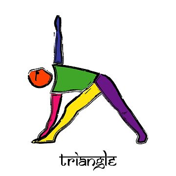 Painting of triangle yoga pose with Sanskrit text. by Mindful-Designs