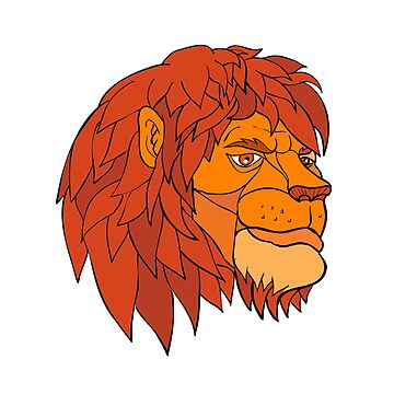 Ruminating Lion Head Cartoon Color by patrimonio