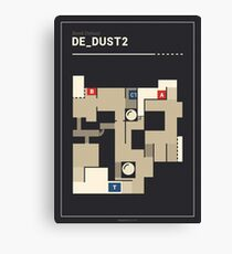 Counter-Strike de_dust2 with white outline Canvas Print