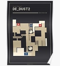 Counter-Strike de_dust2 with white outline Poster