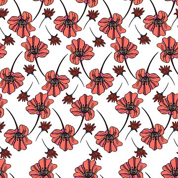 Seamless ditsy pattern in coral flowers. by TrishaMcmillan