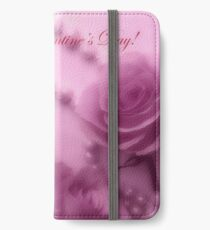 Happy Valentines Day With Soft Pink Roses And Pearls iPhone Wallet/Case/Skin