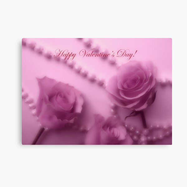 Happy Valentines Day With Soft Pink Roses And Pearls Canvas Print