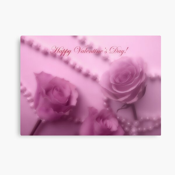Happy Valentines Day With Soft Pink Roses And Pearls Metal Print