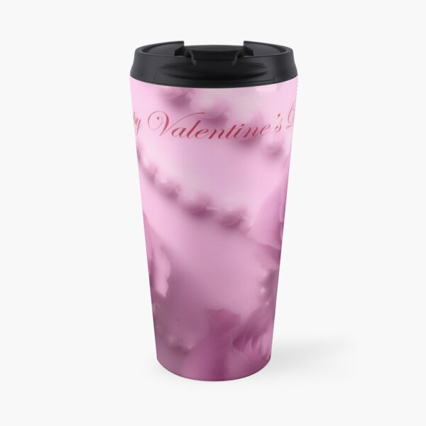 Happy Valentines Day With Soft Pink Roses And Pearls Travel Mug