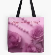 Happy Valentines Day With Soft Pink Roses And Pearls Tote Bag