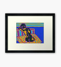 Abstract nude, seated on a cushion. Framed Print