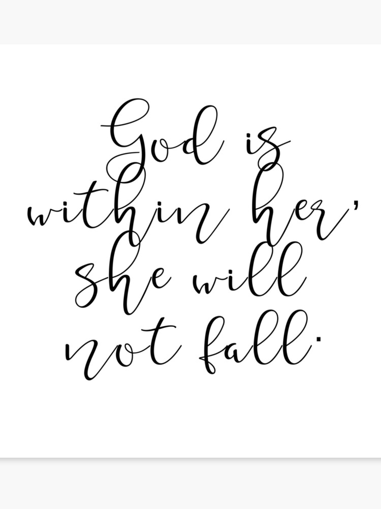 God is within her, she will not fall. Cool, Cute, Quotes, Birthday,  Valentine\'s day, Mother\'s day, Good vibes, Calligraphy | Canvas Print