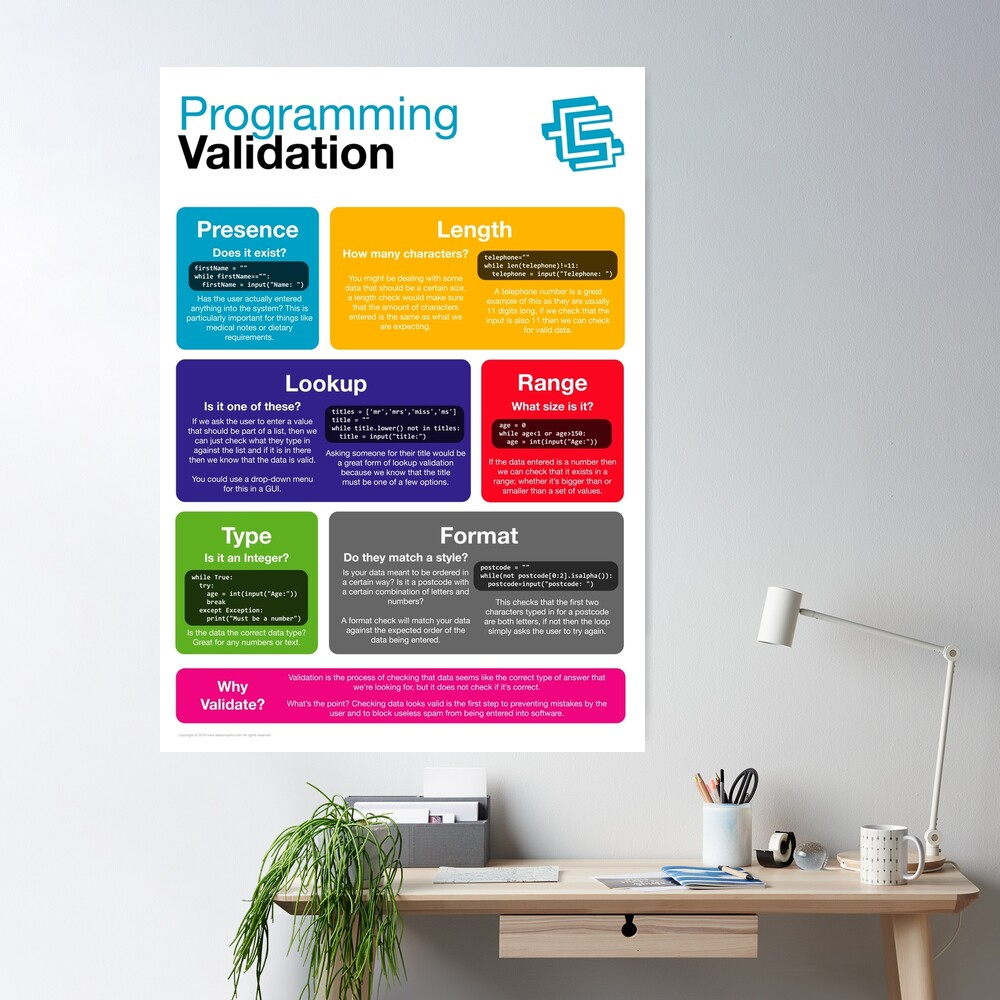 Programming Validation (Coding Literacy) New 2019 Python Poster