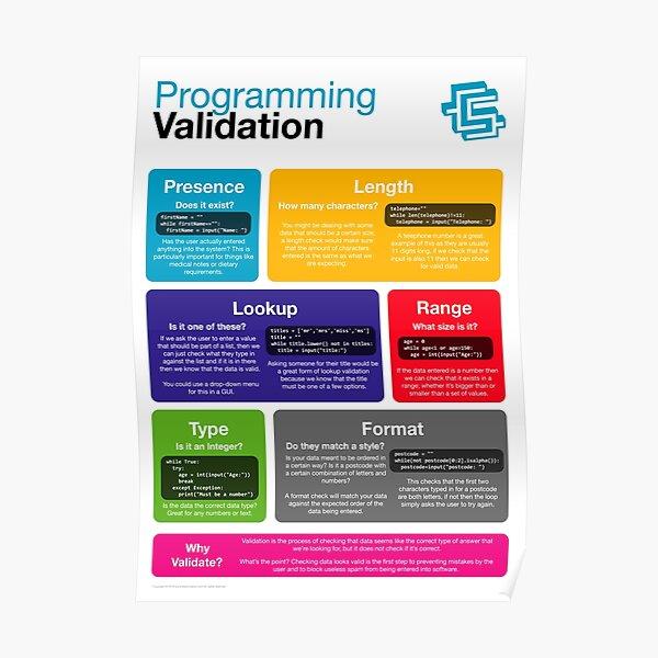 Programming Validation (Coding Literacy) New 2019 Python Poster
