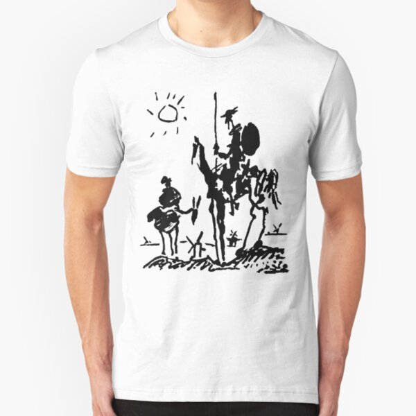 Don Quixote Illustration by Picasso Slim Fit T-Shirt