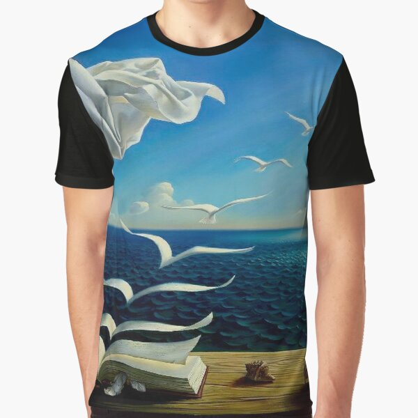 BOOK TO BIRDS: Vintage Fantasy Surreal Print by Dali Graphic T-Shirt