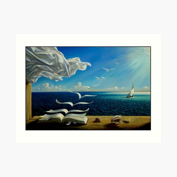 BOOK TO BIRDS: Vintage Fantasy Surreal Print by Dali Art Print