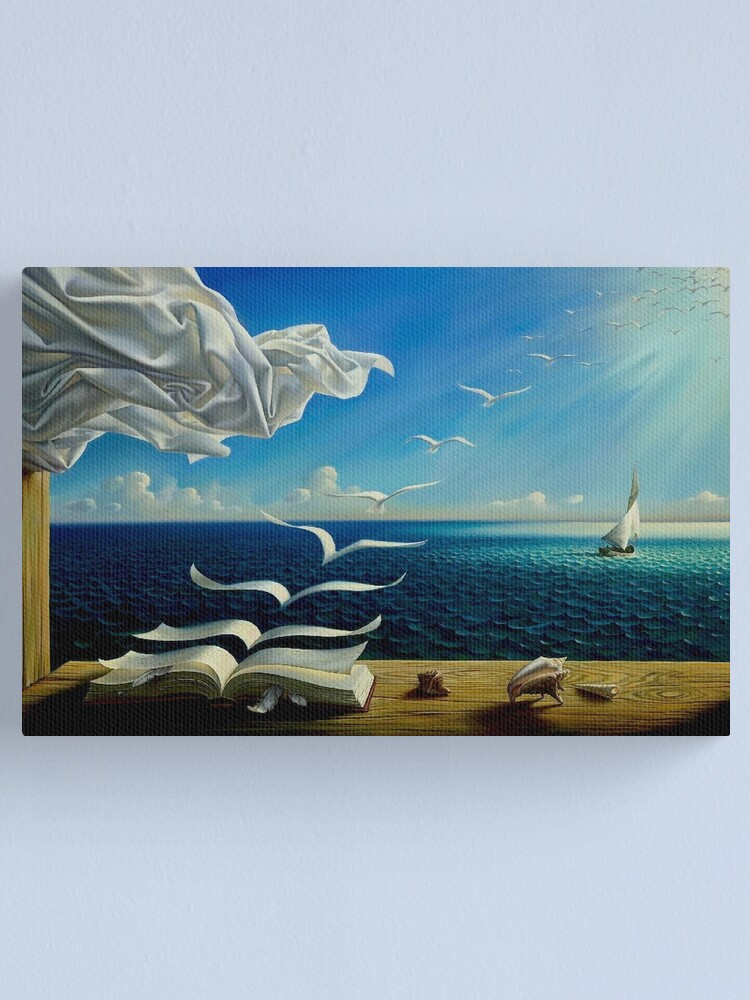 Alternate view of BOOK TO BIRDS: Vintage Fantasy Surreal Print by Dali Canvas Print