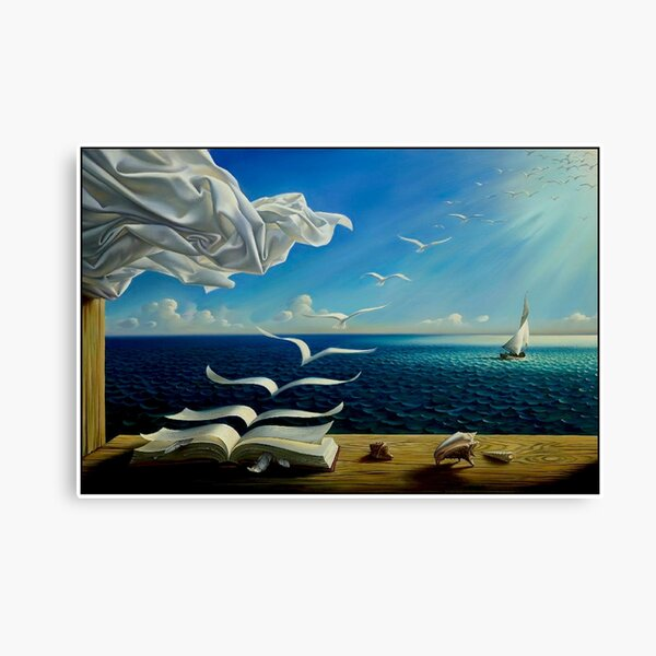 BOOK TO BIRDS: Vintage Fantasy Surreal Print by Dali Canvas Print