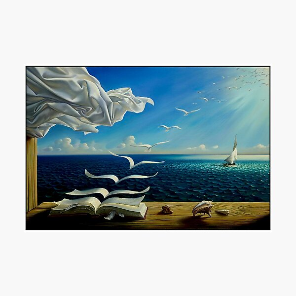 BOOK TO BIRDS: Vintage Fantasy Surreal Print by Dali Photographic Print