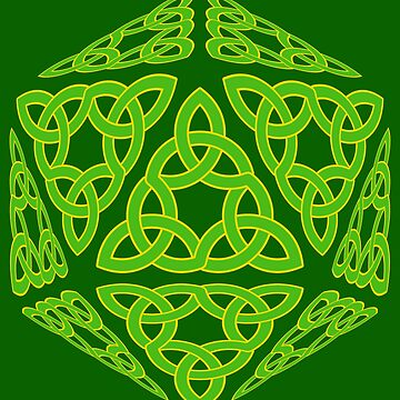 St Patrick's Day Celtic Triquetra D20 by heathendesigns
