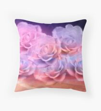 Soft Roses And Sea Art Work Throw Pillow