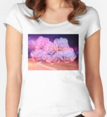 Soft Roses And Sea Art Work Women's Fitted Scoop T-Shirt