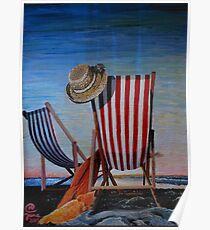 Folding Chairs Watching, Contemplating The Sunset Poster