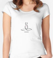 """Stylized Cat Meditator with """"Namaste"""" in fancy text Women's Fitted Scoop T-Shirt"""