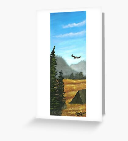 Camping in blue and gold Greeting Card