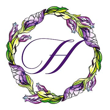 iris floral Letter H - uppercase Alphabet, Monogram, Initial  by ArtOlB