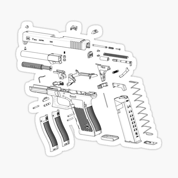 G17 Pistol Exploded View Sticker