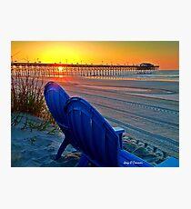 Beach Blue Chairs Pier Sunrise Photographic Print
