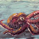 Palette Knife Abstract Octopus  by Dea Poirier